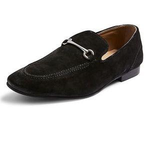 Topman   Men's Suede Black Snaffle Penny Loafers